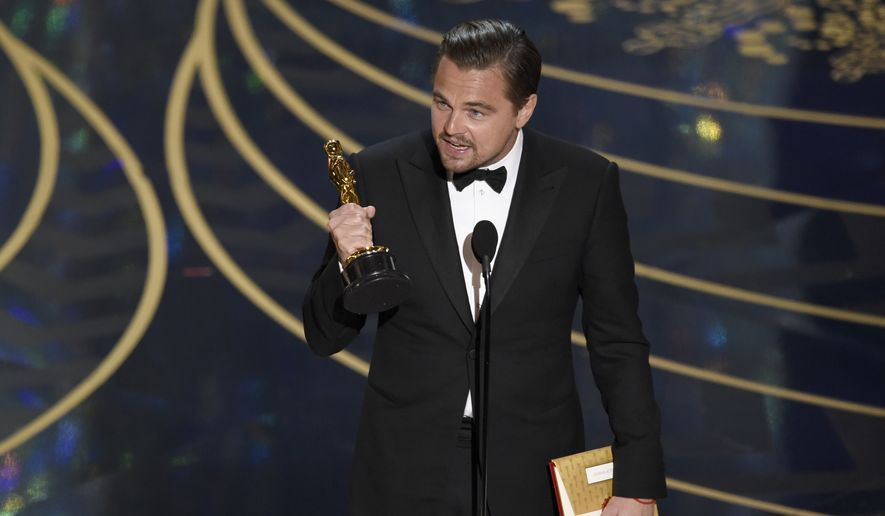 "Leonardo DiCaprio accepts the award for best actor in a leading role for ""The Revenant"" at the Oscars on Sunday at the Dolby Theatre in Los Angeles. (Associated Press)"