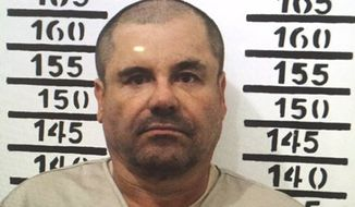 "In this Jan. 8, 2016, file image released by Mexico's federal government, Mexico's most wanted drug lord, Joaquin ""El Chapo"" Guzman, stands for his prison mug shot with the inmate number 3870 at the Altiplano maximum security federal prison in Almoloya, Mexico. (Mexico's federal government via AP) ** FILE **"