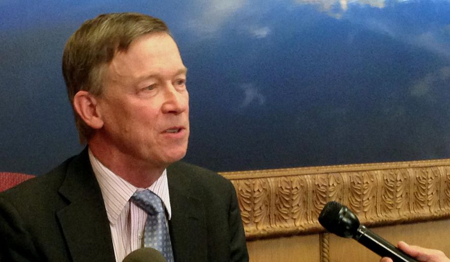 Colorado's Democratic Gov. John Hickenlooper discusses prospects for a state budget agreement with Republicans during an interview in Denver, Monday, Feb. 29, 2016. (AP Photo/Jim Anderson) ** FILE **