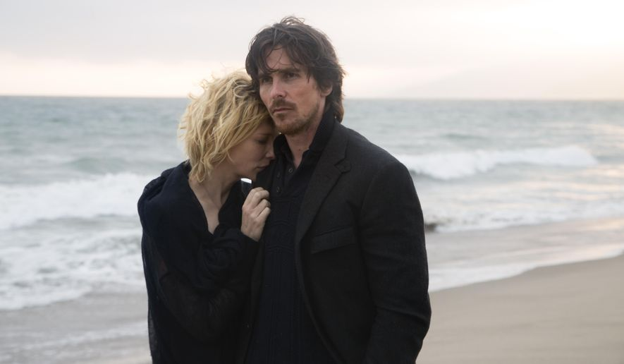 "This image released by Broad Green Pictures shows Cate Blanchett, left, and Christian Bale in ""Knight of Cups.""  (Melinda Sue Gordon/Broad Green Pictures via AP)"