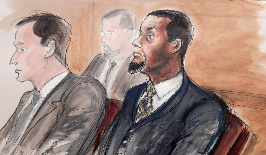In this Feb. 24, 2016, courtroom sketch, Tairod Nathan Webster Pugh, right, sits at the defense table with his attorney Zachary S. Taylor, left, during jury selection in a federal court in the Brooklyn borough of New York. Pugh, a U.S. Air Force veteran and former airplane mechanic charged with trying to join the Islamic State, will be among the first Americans to go on trial as a result of the U.S. government's pursuit of dozens of suspected sympathizers of the militant group. (AP Photo/Elizabeth Williams) ** FILE **
