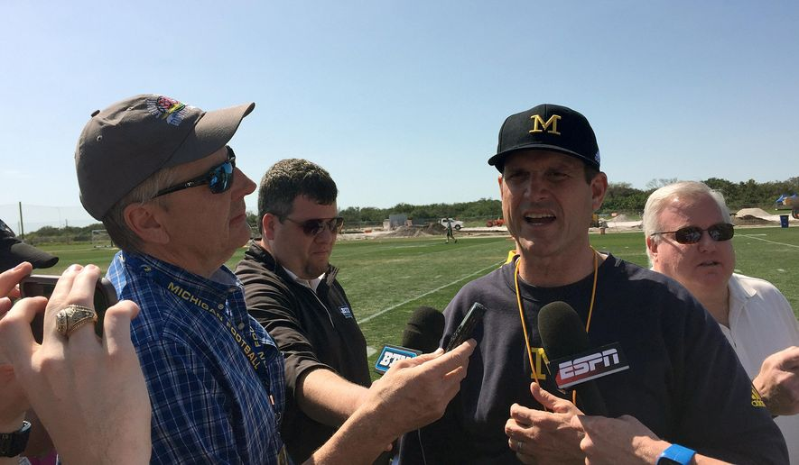 University of Michigan NCAA college football head coach Jim Harbaugh speaks to reporters at IMG Academy in Bradenton, Fla., Monday, Feb. 29, 2016. (AP Photo/Ralph Russo)