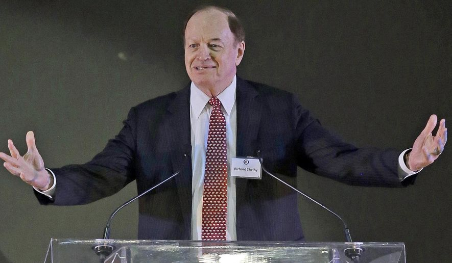 FILE - In this Saturday, Aug. 22, 2015 file photo, Sen. Richard Shelby, R-Ala. speaks at the Alabama GOP summer luncheon, at the International Sports Hall of Fame in Talladega, Ala. Five-term Alabama Sen. Shelby faces off Tuesday, March 1, 2016 with four challengers in the Republican primary that will be the first test of if a surly voter mood will have any impact on down-ballot races. (AP Photo/Butch Dill, File)