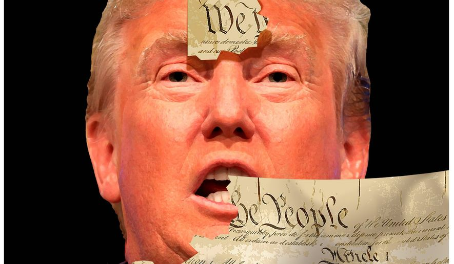 Illustration criticizing Donald trump's ostensible attitude towards the U.S. Constitution by Alexandwer Hunter/The Washington Times