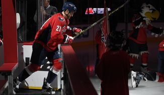 Washington Capitals center Brooks Laich (21) takes to the ice before an NHL hockey game against the San Jose Sharks, Tuesday, Oct. 13, 2015, in Washington. (AP Photo/Nick Wass)