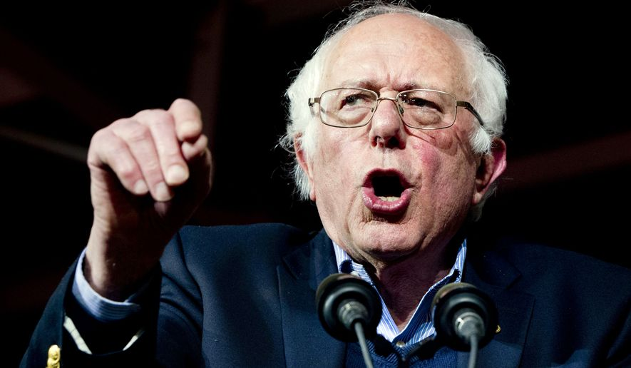 Democratic presidential candidate Sen. Bernie Sanders, I-Vt., speaks during a primary night rally in Essex Junction, Vt., Tuesday, March 1, 2016, on Super Tuesday. (AP Photo/Jacquelyn Martin)