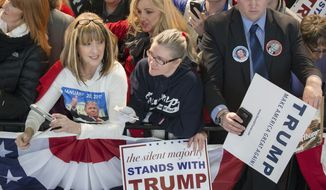 Attendees wait for Republican presidential candidate Donald Trump to greet them during a campaign stop at the Signature Flight Hangar at Port-Columbus International Airport, Tuesday, March 1, 2016, in Columbus, Ohio. (AP Photo/John Minchillo)