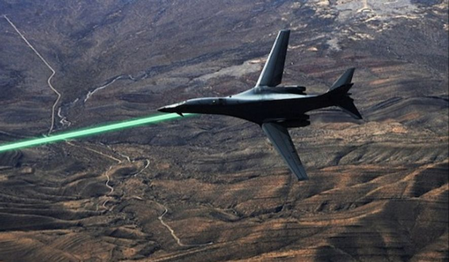 The U.S. Air Force, Army, and Navy have all been developing and testing offensive and defensive laser weapons. An artist's illustration shows how the Air Force could attach the high powered lasers to its aircraft to detect surface-to-air missiles and attack enemy targets. (Image: DARPA)