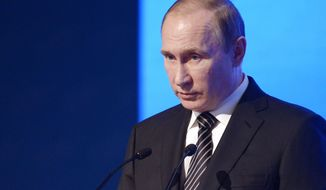 Russian President Vladimir Putin speaks at  a meeting of the Russian Chamber of Commerce in Moscow, Russia, Tuesday, March 1, 2016. (Alexei Nikolsky/Sputnik, Kremlin Pool Photo via AP)