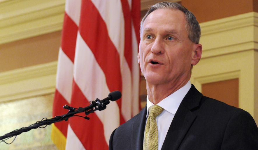 South Dakota Gov. Dennis Daugaard delivers his annual state of the state address at the state Capitol in Pierre on Jan. 12, 2016. (Associated Press) **FILE**