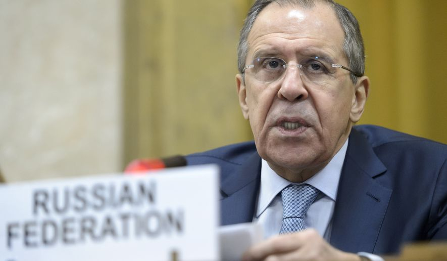 Russian Foreign Minister Sergey Lavrov delivers his statement during a high-level segment of the disarmament conference, Tuesday, March 1, 2016, at the European headquarters of the United Nations in Geneva, Switzerland. (Laurent Gillieron/Keystone via AP)