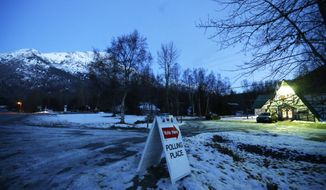 FILE - In this Nov. 4, 2014 file photo, a sign directs motorists to the Valley Bible Chalet polling location on election day, in Indian, Alaska, south of Anchorage. Alaska Republicans are poised to decide which of the remaining GOP presidential candidates will get their support. Those set to appear on the Alaska GOP's presidential preference poll ballot Tuesday, March 1, 2016, are Donald Trump, Ted Cruz, Marco Rubio, John Kasich and Ben Carson.  (AP Photo/Ted S. Warren, File)