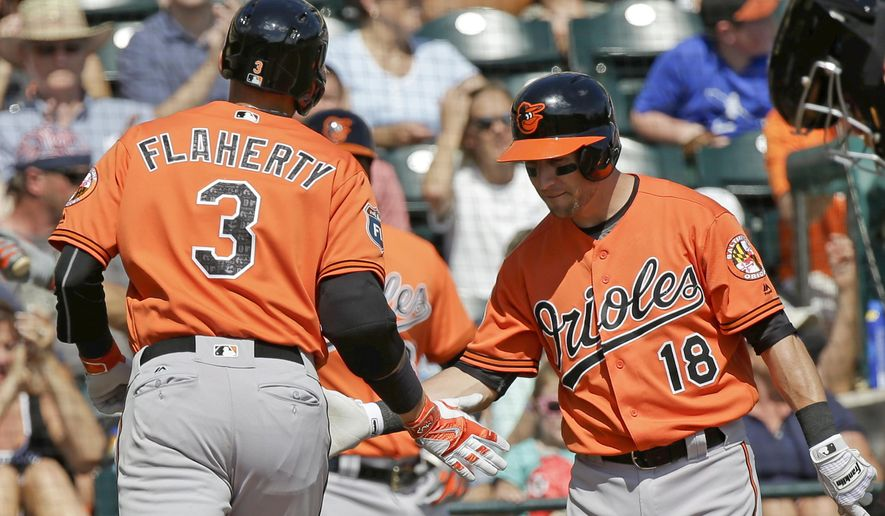 Baltimore Orioles' Ryan Flaherty (3) slaps hands with teammate Steve Tolleson (18) after he hit a home run in the second inning of a spring training baseball game against the Atlanta Braves, Tuesday, March 1, 2016, in Kissimmee, Fla. (AP Photo/John Raoux)
