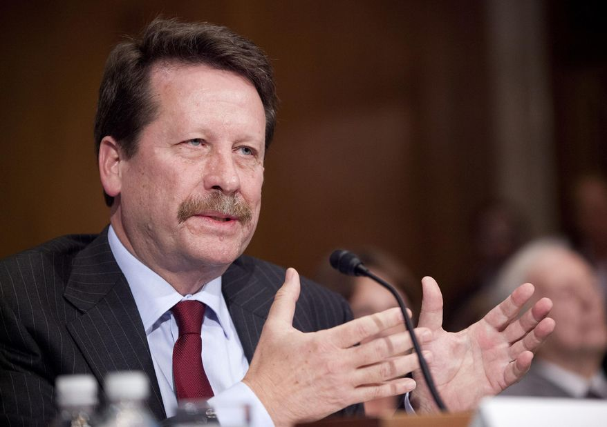 FILE - In this Tuesday, Nov. 17, 2015, file photo, Dr. Robert Califf, President Barack Obama's nominee to lead the Food and Drug Administration, testifies on Capitol Hill in Washington, before the Senate Health, Education, Labor and Pensions Committee hearing on his nomination. On Tuesday, March 1, 2016, Califf, the FDA's new commissioner, pledged to fully back efforts to develop harder-to-abuse painkillers, part of a sweeping government effort to reduce deadly overdoses tied to prescription pain medications. (AP Photo/Pablo Martinez Monsivais, File)