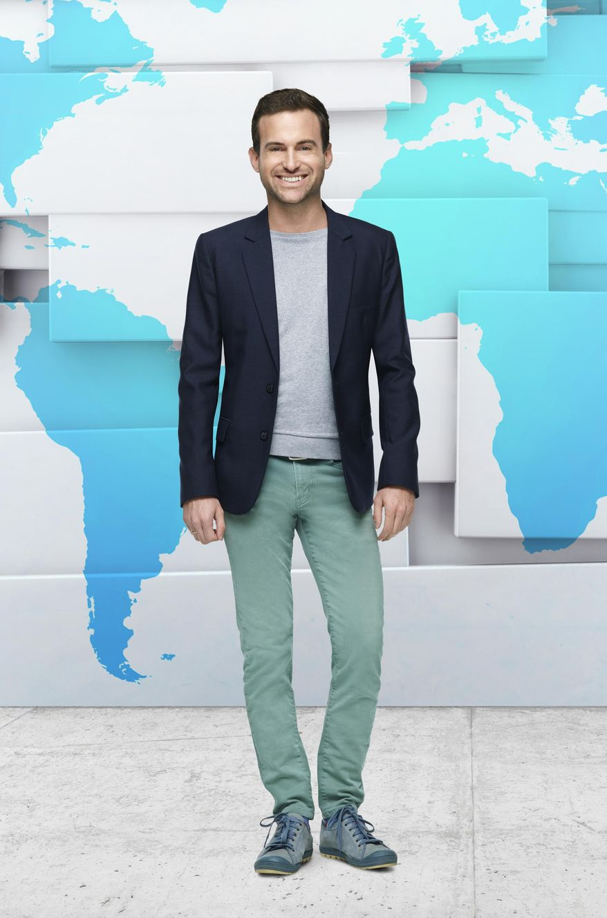 """This image released by Bravo shows tour guide Brandon Presser who stars in the docu-series, """"Tour Group,"""" premiering on Tuesday, March 1 at 10 p.m. EST on Bravo. (Tommy Garcia/Bravo via AP)"""