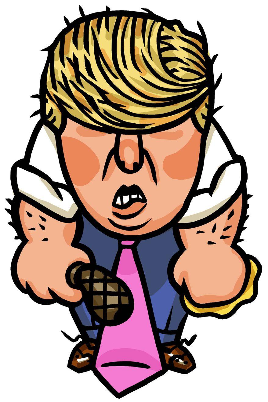 Illustration on the pugnacious Donald Trump by Alexander Hunter/The Washington Times