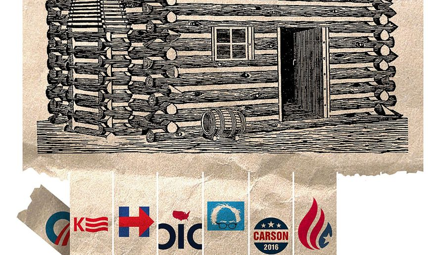 Illustrations on political pretensions to humble beginnings by Alexander Hunter/The Washington Times