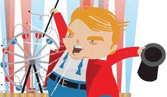 Illustration on Donald Trump's hucksterism by Linas Garsys/The Washington Times
