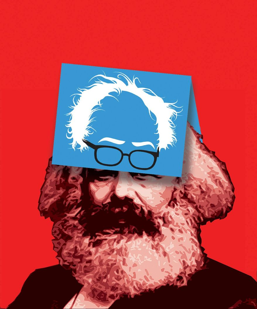 """Illustration on the roots of Bernie Sanders' """"Democratic Socialism"""" by Alexander Hunter/The Washington Times"""