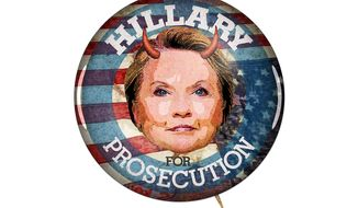 Illustration on what should happen with Hillary Clinton by Greg Groesch/The Washington Times