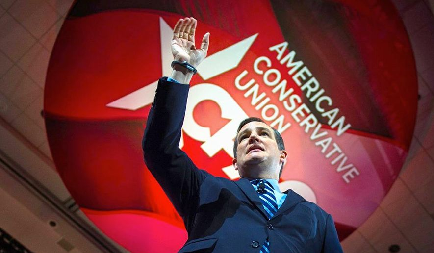 Sen. Ted Cruz prepares to address a huge crowd at CPAC 2015. (The Washington Times)
