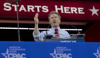 Sen. Rand Paul, R-Ky., speaks during the Conservative Political Action Conference (CPAC) in National Harbor, Md., Friday, Feb. 27, 2015. (AP Photo/Carolyn Kaster) ** FILE **