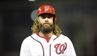 Washington Nationals' Jayson Werth looks on during an interleague baseball game against the Baltimore Orioles, Wednesday, Sept. 23, 2015, in Washington. (AP Photo/Nick Wass)