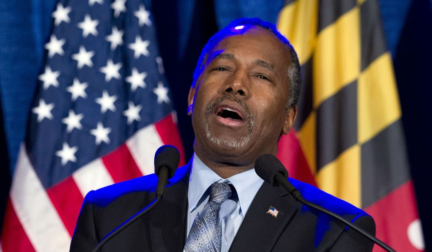 In this March 1, 2016, file photo, Ben Carson speaks during an election night party in Baltimore. (AP Photo/Jose Luis Magana, File)