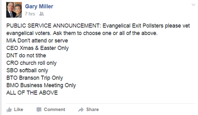 "Facebook screenshot from Gary Miller, minister with ""Talk Less! Pray More!"" ministries."