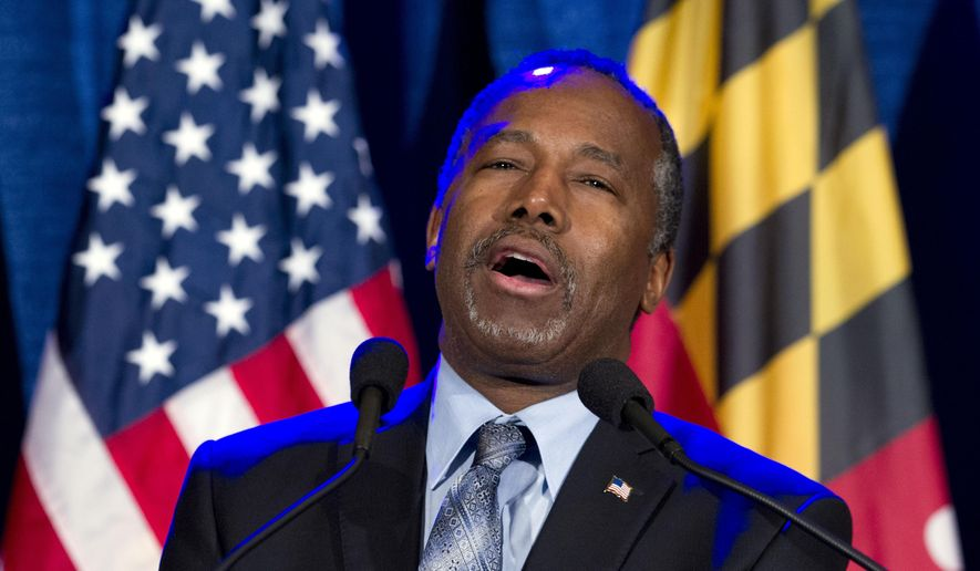 Republican presidential candidate retired neurosurgeon Ben Carson speaks during an election night party in Baltimore, Tuesday, March 1, 2016. ( AP Photo/Jose Luis Magana)