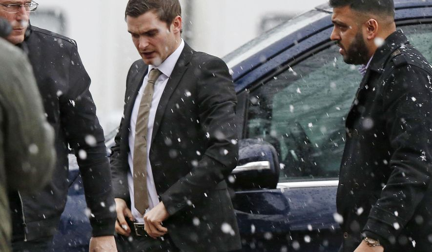 "Footballer Adam Johnson, centre,  arrives at Bradford Crown Court where the jury are considering their verdicts in a trial where he is accused of sexual activity with a child, in Bradford, England, Wednesday March 2, 2016. Former England soccer international Adam Johnson faces jail after being found guilty of sexual activity with a child. Johnson was sacked by Sunderland as the trial started last month when he pleaded guilty to one charge of sexual activity with a 15-year-old girl and another of ""grooming"" _ building an emotional connection with a child to gain trust for sexual motives.  (Owen Humphreys/PA via AP) UNITED KINGDOM OUT"