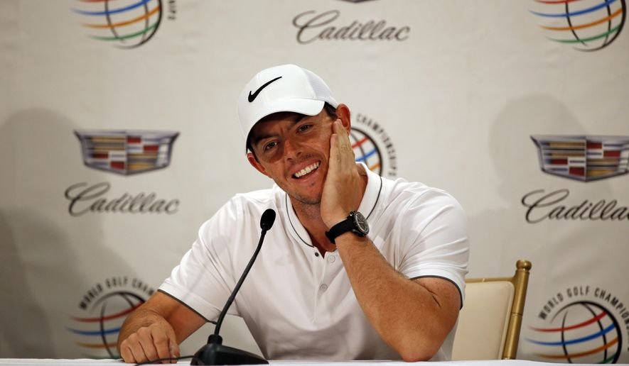 Rory McIlroy, of Northern Ireland, reacts to a political question during a news conference at the Cadillac Championship golf tournament, Wednesday, March 2, 2016, in Doral, Fla. (AP Photo/Wilfredo Lee)