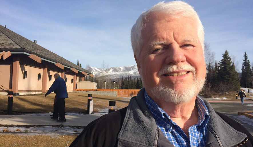 Jim Stephens poses for a photo outside a Republican polling place in Anchorage, Alaska, on Tuesday, March 1, 2016. Stephens, a 72-year-old retired pastor, supported U.S. Sen. Marco Rubio, R-Fla., in the Alaska Presidential Preference Poll. (AP Photo/Mark Thiessen)