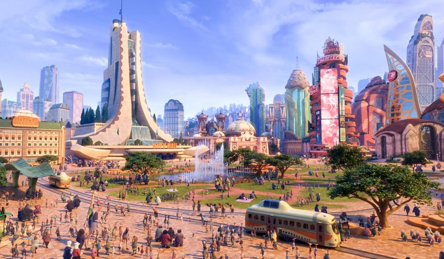 """This image released by Disney shows a scene from the animated film, """"Zootopia."""" (Disney via AP)"""