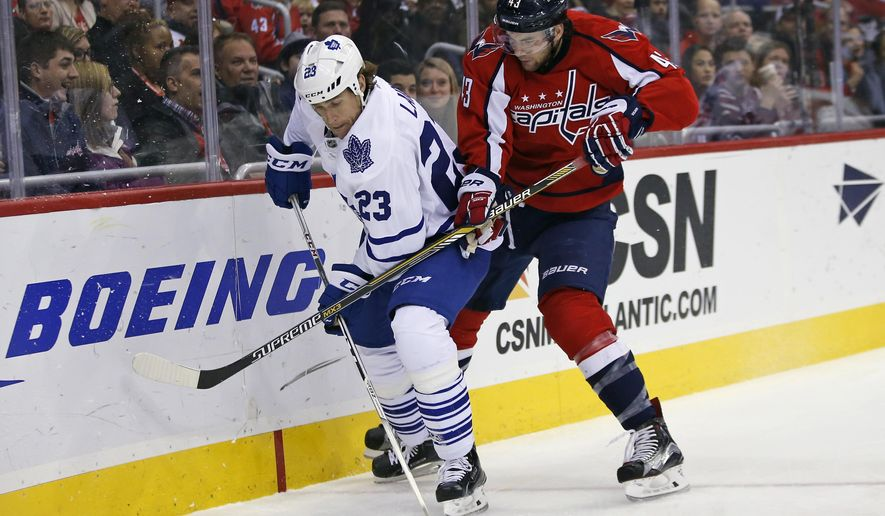 Toronto Maple Leafs center Brooks Laich (23) and Washington Capitals right wing Tom Wilson (43) battle for the puck in the second period of an NHL hockey game, Wednesday, March 2, 2016, in Washington. (AP Photo/Alex Brandon)