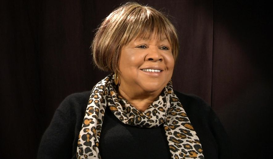 "In this Feb. 24, 2016 image taken from video, Mavis Staples appears during an interview in New York.  The 76-year-old voice of the Staple Singers sang behind Martin Luther King Jr., dated Bob Dylan, recorded with Prince and just released a disc with alternative rock hero M. Ward interpreting new songs by the likes of Nick Cave and Neko Case. This week offers a burst of attention with the debut of an HBO documentary ""Mavis!"" about her life. (AP Photo/Ted Shaffrey)"