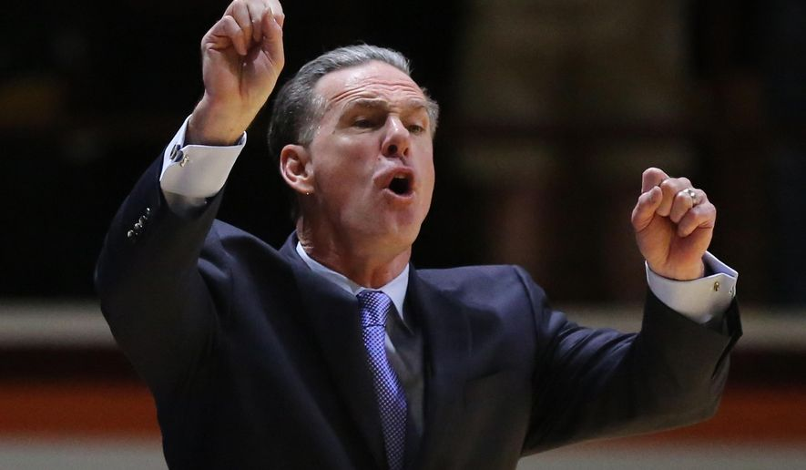 Pittsburgh head coach Jamie Dixon coaches from the sideline during the first half of an NCAA basketball game against Virginia Tech, Wednesday, March 2, 2016 in Blacksburg, Va. (Matt Gentry/The Roanoke Times via AP) LOCAL TELEVISION OUT; SALEM TIMES REGISTER OUT; FINCASTLE HERALD OUT;  CHRISTIANBURG NEWS MESSENGER OUT; RADFORD NEWS JOURNAL OUT; ROANOKE STAR SENTINEL OUT; MANDATORY CREDIT