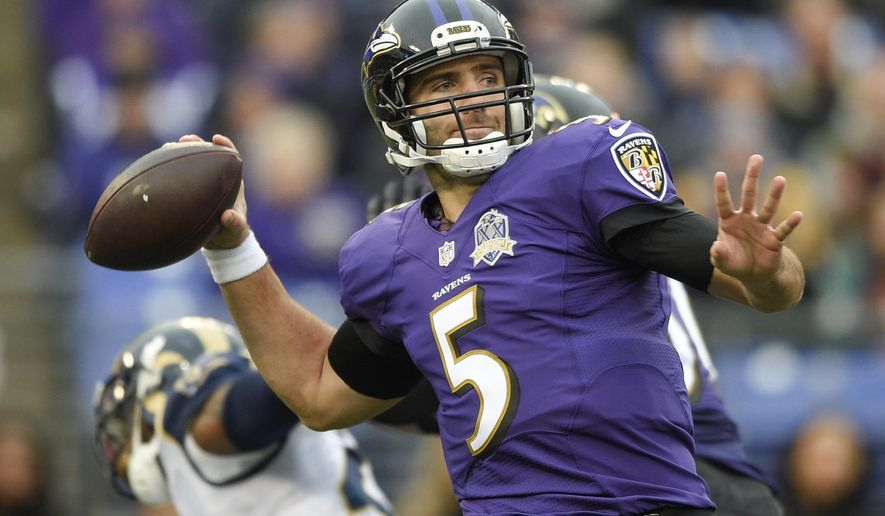 FILE - In this Nov. 22, 2015, file photo, Baltimore Ravens quarterback Joe Flacco passes the ball during the second half of an NFL football game against the St. Louis Rams, in Baltimore. The Ravens and Joe Flacco have agreed on a contract extension that will keep the quarterback with the team through the 2021 season. Flacco and the Ravens agreed on a three-year extension Wednesday, March 2, 2016. (AP Photo/Nick Wass, File)