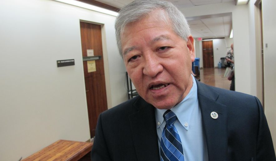 Honolulu Prosecuting Attorney Keith Kaneshiro talks about why he opposed a bill to ban sex trafficking on Wednesday, March 2, 2016 in Honolulu. The latest attempt to ban sex trafficking in Hawaii would treat minors who engage in sex work differently than adults in the industry. Kaneshiro opposed the bill, arguing that pimps could use the law change as a way to recruit minors. (AP Photo/Cathy Bussewitz)