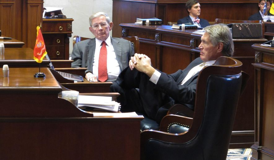 South Carolina Sen. Hugh Leatherman, R-Florence, left, and Sen. Harvey Peeler, R-Gaffney, right, listen to a filibuster on a roads bill in the state Senate chamber on Wednesday, March 2, 2016 in Columbia, S.C. Gov. Nikki Haley blamed Leatherman for the delay on the bill, saying he wants lawmakers to keep control of how highway money is spent. (AP Photo / Jeffrey Collins)