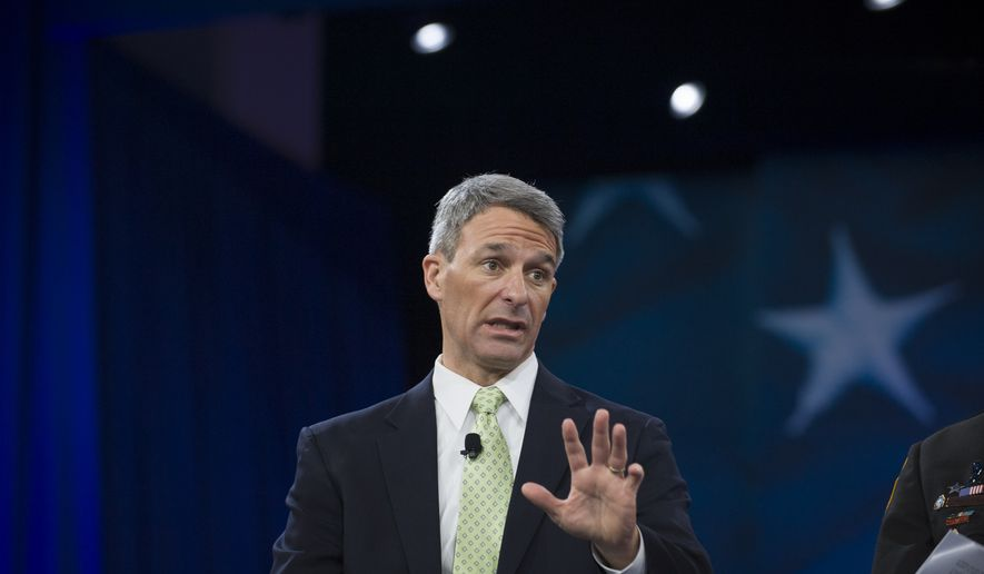 """Former Virginia Attorney Gen. Ken Cuccinelli responds to a question from Washington Times reporter Kelly Riddell during the panel debate """"I Walk the Line: Reforming the Criminal Justice System"""" on the first day of the American Conservative Union CPAC 2016 at the Gaylord National Resort and Convention Center in National Harbor, Md., Thursday, March 3, 2016. (Rod Lamkey Jr.) **FILE**"""