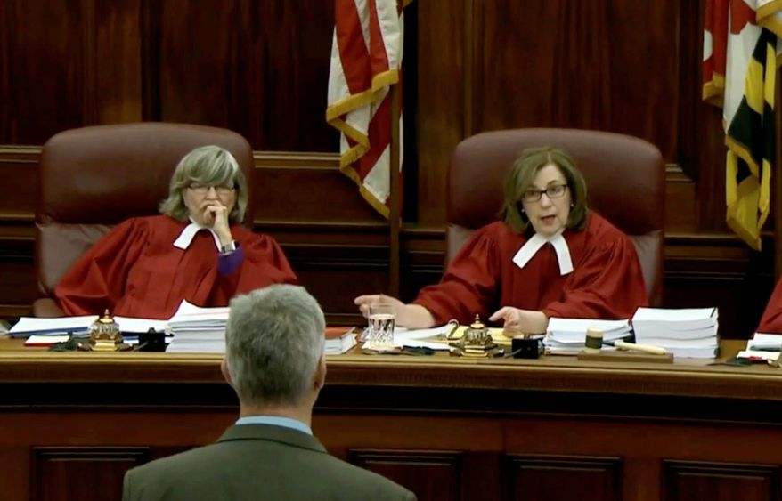 In this file photo, Court of Appeals of Maryland Chief Judge Mary Ellen Barbera (right) is shown questioning an attorney in a proceeding on March 1, 2018. (Associated Press photographs) **FILE**