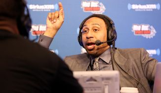 Sportscaster Stephen A. Smith is seen during an interview on Radio Row at the NFL Media Center during Super Bowl Week on Wednesday, February 3, 2106 in San Francisco, CA. (AP Photo/Gregory Payan)