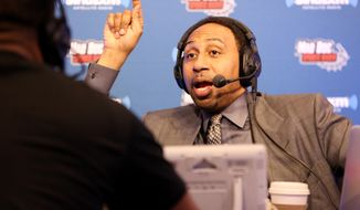 Sportscaster Stephen A. Smith is seen during an interview on Radio Row at the NFL Media Center during Super Bowl Week on Wednesday, February 3, 2106 in San Francisco, CA. (AP Photo/Gregory Payan) **. FILE **
