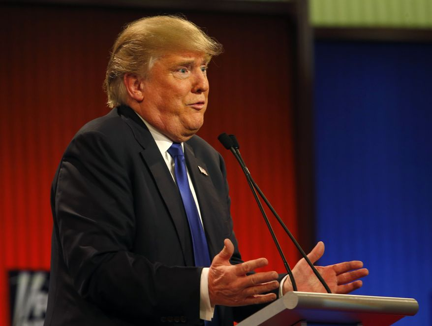 Donald Trump appeared to rule out an independent bid for president Thursday night, saying he will support whoever the eventual GOP nominee is. (Associated Press)