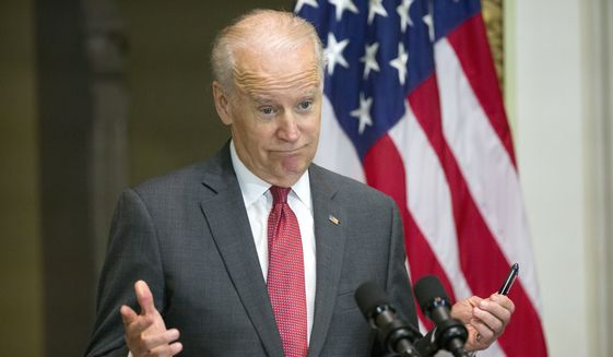 In this Dec. 14, 2015, file photo, then-Vice President Joe Biden speaks in the Indian Treaty Room of the Eisenhower Executive Office Building on the White House complex in Washington. (AP Photo/Pablo Martinez Monsivais, File)