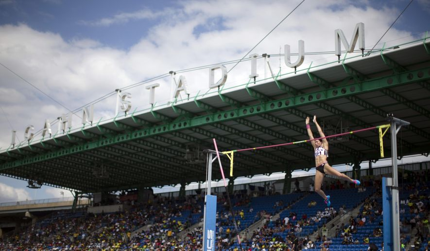 "FILE - In this June 14, 2014, file photo, Jennifer Suhr competes in the women's pole vault during the IAAF Diamond League Grand Prix competition on Randall's Island in New York. The IAAF says New York has opted out of hosting a Diamond League track meet, preferring a street event to attract young fans.New York meet director Mark Wetmore says in an IAAF statement that ""changing our focus to a street meet is one way to make the event attractive to a younger audience."" (AP Photo/John Minchillo, File)"