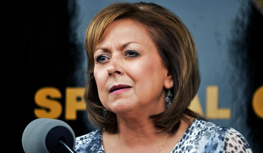 FILE - In this Sept. 4, 2015 file photo, New Mexico Gov. Susana Martinez speaks at a news conference in Albuquerque. Republican presidential hopeful Marco Rubio's campaign says Martinez is set to endorse the Florida senator. Rubio's campaign says the nation's only Latina governor and chair of the Republican Governors Association will announce her support for him on Thursday, March 3, and plans to campaign with Rubio in Kansas on Friday. (AP Photo/Russell Contreras, File)