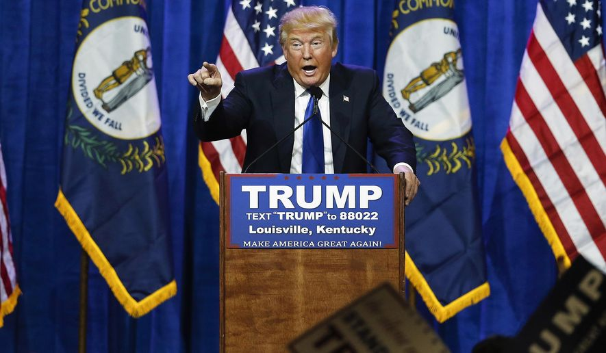 FILE - In this March 1, 2016 file photo, Republican presidential candidate Donald Trump speaks during a rally in Louisville, Ky. Even Republican health care experts say Donald Trump's evolving ideas on this top issue don't seem to amount to a plan. (AP Photo/John Bazemore, File)