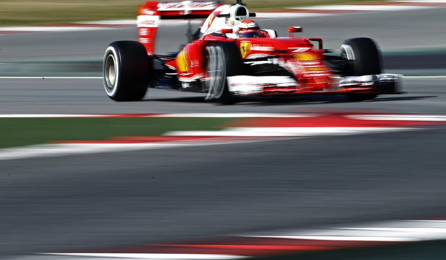 Kimi Raikkonen of Finland and Ferrari drives steers his car during a testing session at the the Catalunya racetrack in Montmelo just outside of Barcelona, Spain, Tuesday, March 1, 2016. (AP Photo/Manu Fernandez)